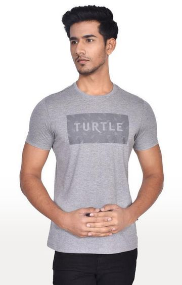 Turtle | Grey Printed T-Shirt