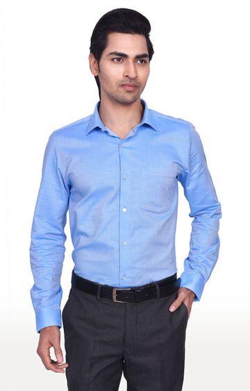 Turtle | Blue Solid Formal Shirt