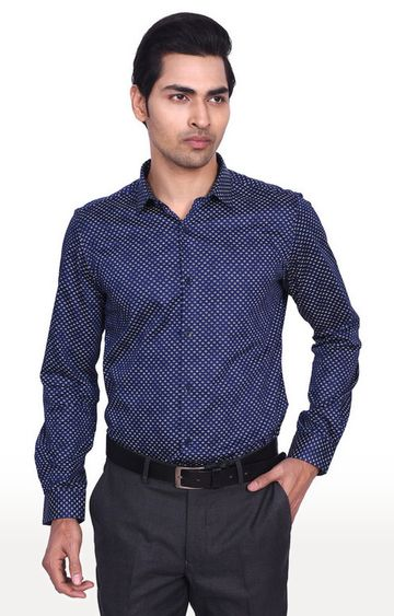 Turtle | Blue Printed Formal Shirt