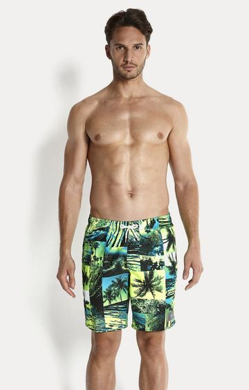 Speedo | Black and Bali Blue Printed Boardshorts