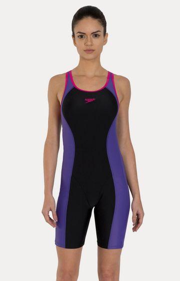 Speedo | Speedo Black and Purple Colour block Swimsuit