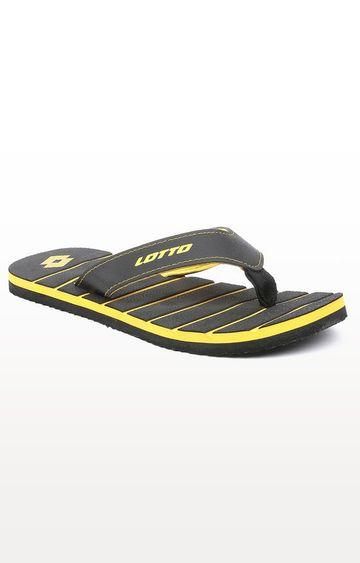Lotto | Lotto Black and Yellow Buick Flip Flops