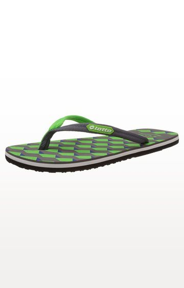 Lotto | Grey and Green Curvatura Flip Flops