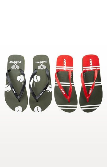 Lotto | Lotto Black and Grey Lotto Slipper Combo Ronis-Starboard Flip flops