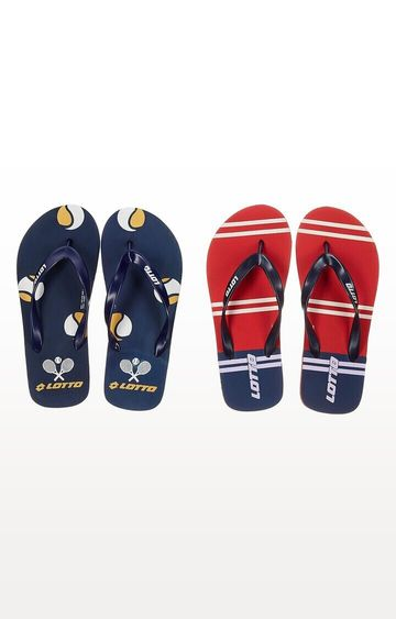 Lotto | Lotto Navy and Red Lotto Slipper Combo Ronis-Starboard Flip flops