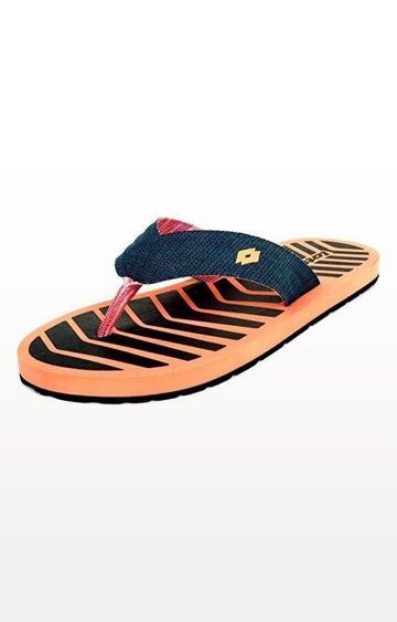 Lotto   Coral and Navy Alaska Flip flops