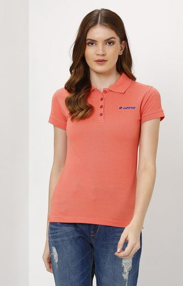 Lotto   Orange Solid T-Shirt