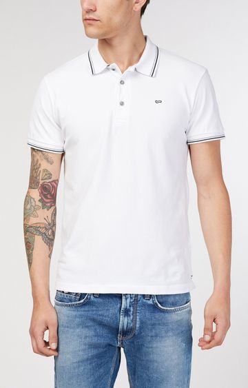 GAS | Ralph/S 3 Solid White Polo T-Shirt
