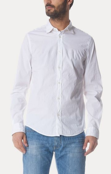 GAS | White Solid Casual Shirt