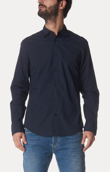 GAS | Blue Solid Casual Shirt