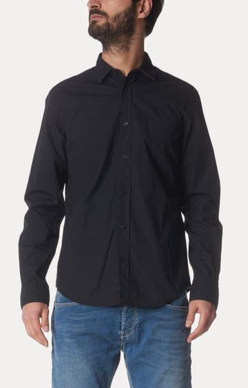 GAS | Black Solid Casual Shirt