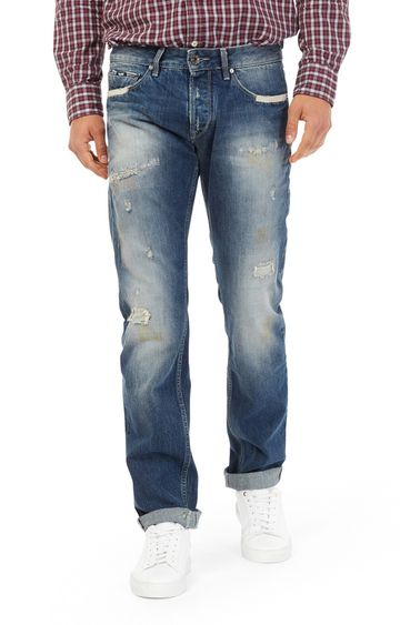 GAS | Men's Morrison Straight Fit Distressed Blue Jeans