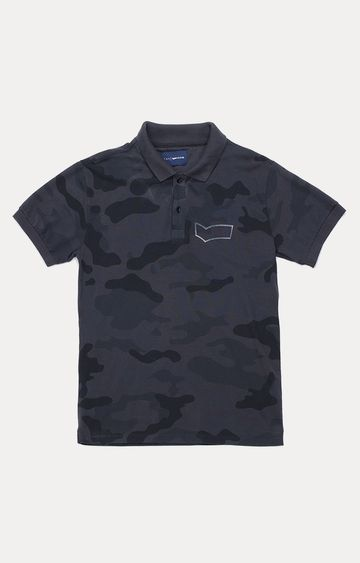 GAS | Gerolf/S Printed Black Polo T-Shirt
