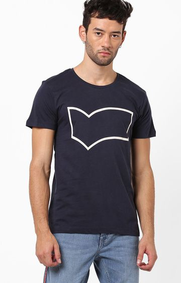 GAS | Scuba/S Outline Printed Round Neck Blue T-Shirt