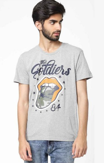 GAS | Arkell/S Tongue Printed Round Neck Grey T-Shirt