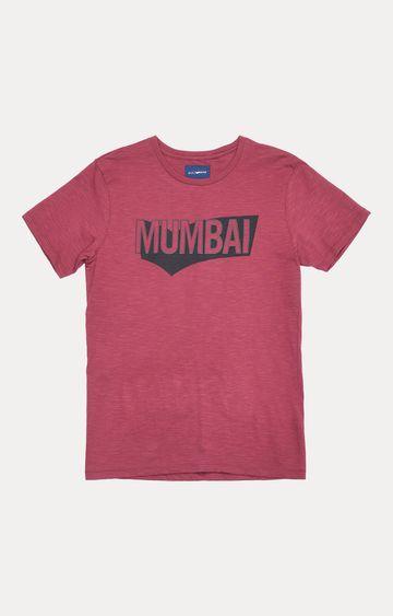 GAS | Dark Pink Printed T-Shirt