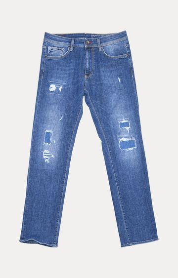 GAS | Blue Solid Straight Jeans