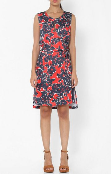 GAS | Women's regular fit collared sleeveless printed Roche dress