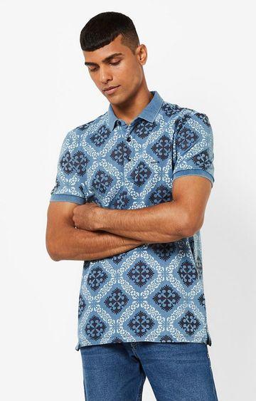 GAS | Ralph Indigo All Over Printed Blue Polo T-Shirt