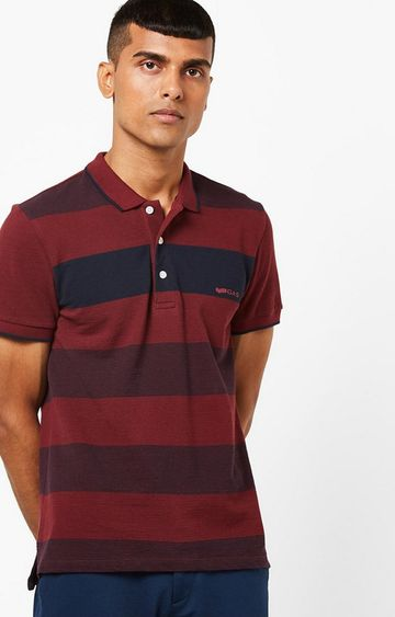 GAS | Ralph Maroon Stripes Polo T-Shirt