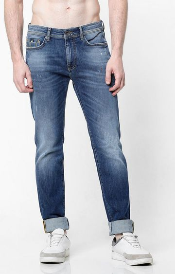 GAS | Mid-Wash Slim Fit Blue Jeans with Whiskers