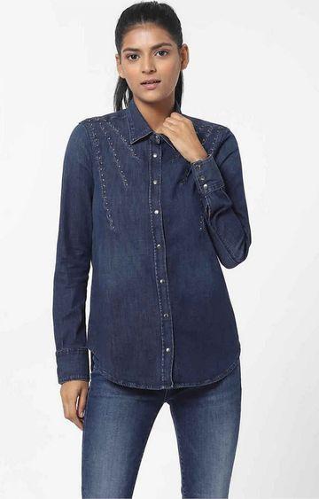 GAS   Women's regular fit collared full sleeves Marah X Pinces shirt