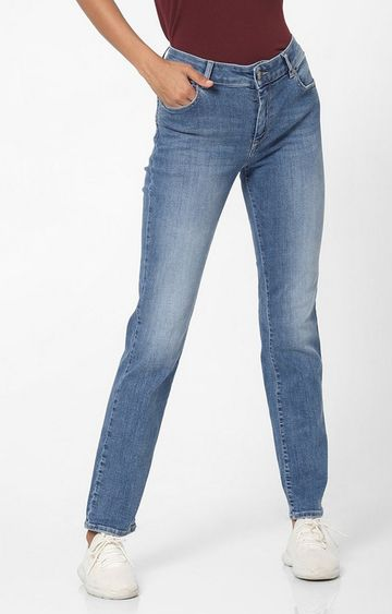 GAS   Women's Britty up bling mid rise medium wash slim fit jeans