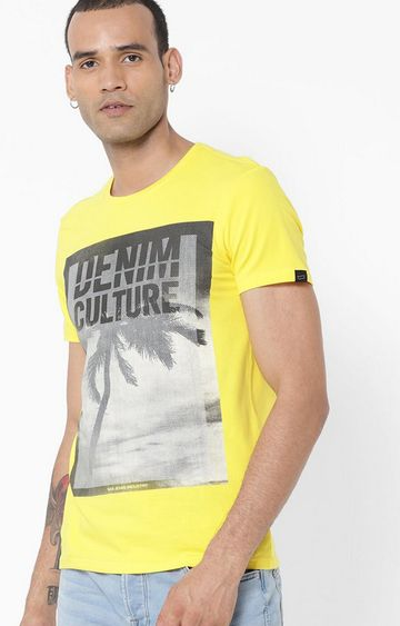 GAS | Jahn/S Printed Round Neck Yellow T-Shirt