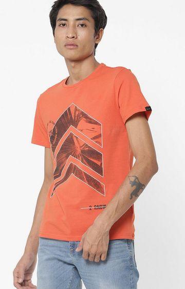 GAS | Jahn/S Printed Round Neck Orange T-Shirt