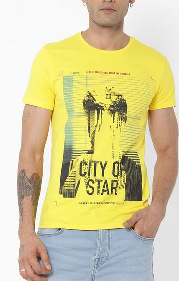 GAS | Scuba/S Printed Round Neck Yellow T-Shirt