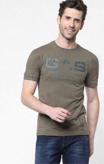 GAS | Yogi/S Printed Round Neck Brown T-Shirt