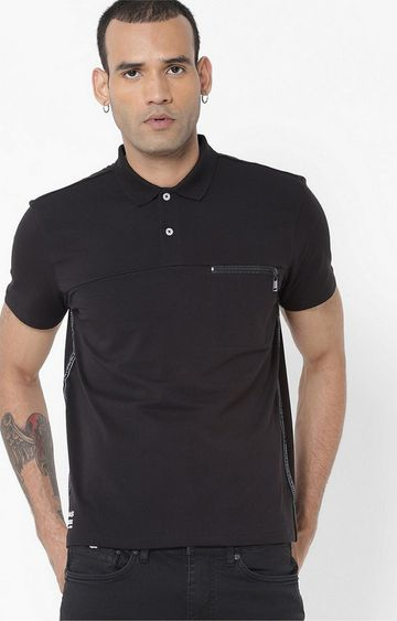 GAS | Keff/R Solid Black Polo T-Shirt