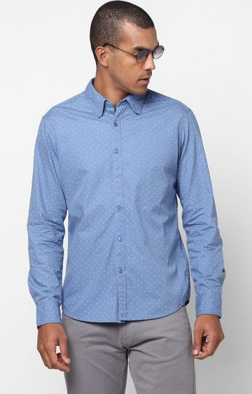 GAS | Men's Andrew Mix all over printed blue shirt