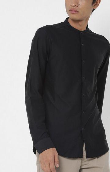 GAS   Men's Knit solid black shirt