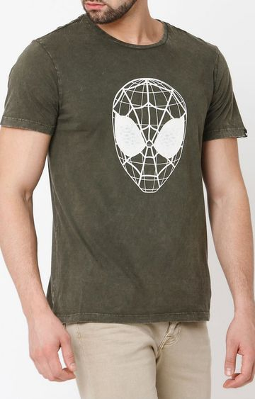 GAS | Webed Face Printed Round Neck Green T-Shirt