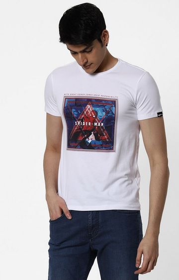 GAS | Spider-Man Printed Round Neck White T-Shirt