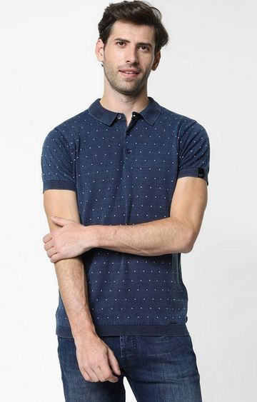 GAS | Ryce Printed Blue Polo T-Shirt