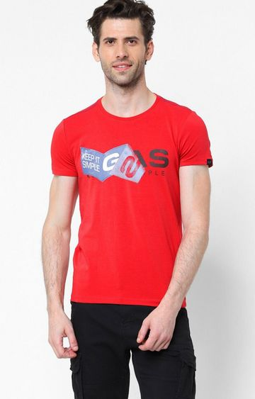 GAS | Jens/S Printed Round Neck Red T-Shirt