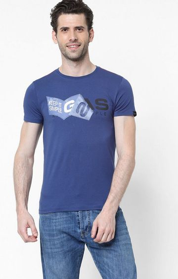 GAS | Jens/S Printed Round Neck Blue T-Shirt