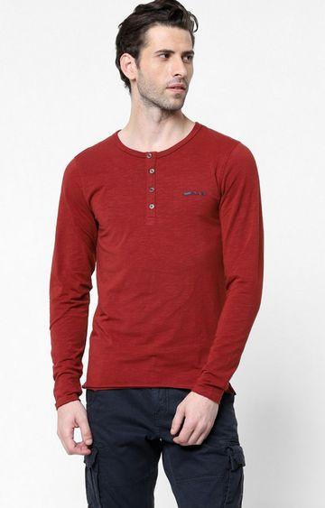 GAS   Kazuki Solid Henley Fire Brick T-Shirt