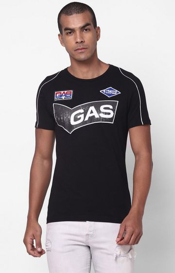 GAS | Scuba/S Printed Round Neck Black T-Shirt