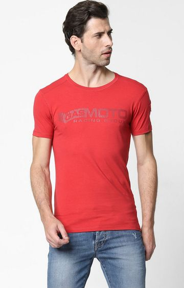 GAS | Scuba/s Red Printed Round Neck T-shirt