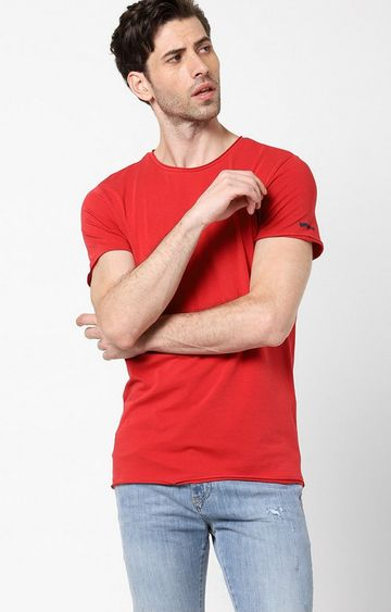 GAS | Scuba Basic Solid Round Neck Red T-Shirt