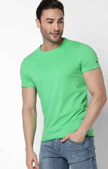 GAS | Scuba Basic Solid Round Neck Green T-Shirt