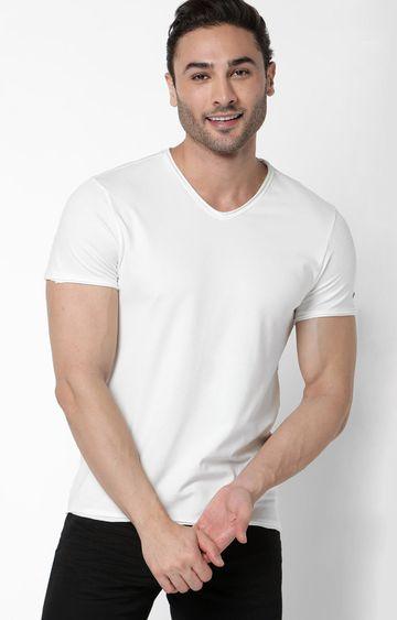 GAS | Scuba V Basic Solid V-Neck White T-Shirt