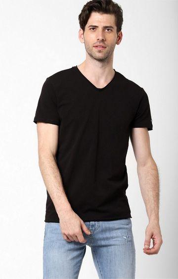 GAS | Scuba V Basic Solid V-Neck Black T-Shirt