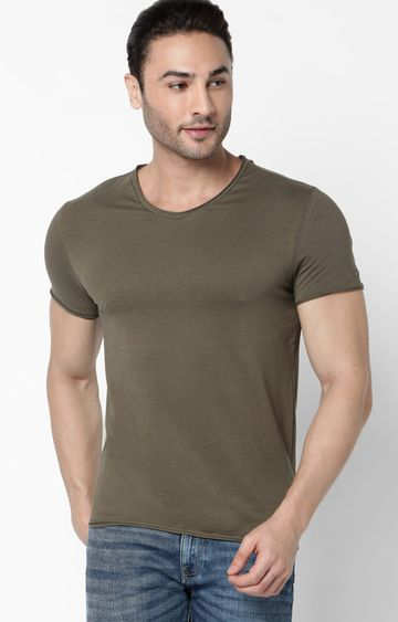 GAS | Scuba V Basic Solid V-Neck Ivy Green T-Shirt