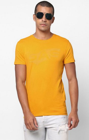 GAS | Scuba Text Printed Crew Neck Mustard T-Shirt