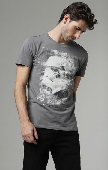 GAS | Scuba Storm Printed Round Neck Grey T-Shirt
