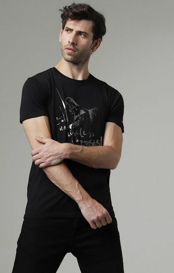 GAS | Scuba Darth Printed Round Neck Black T-Shirt